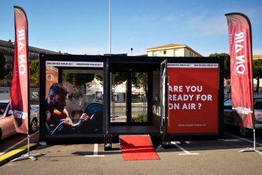 Structure modulaire d'accueil pour la prévente d'abonnement On Air à Montpellier